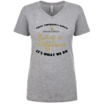 Women's black and gold V neck shirth
